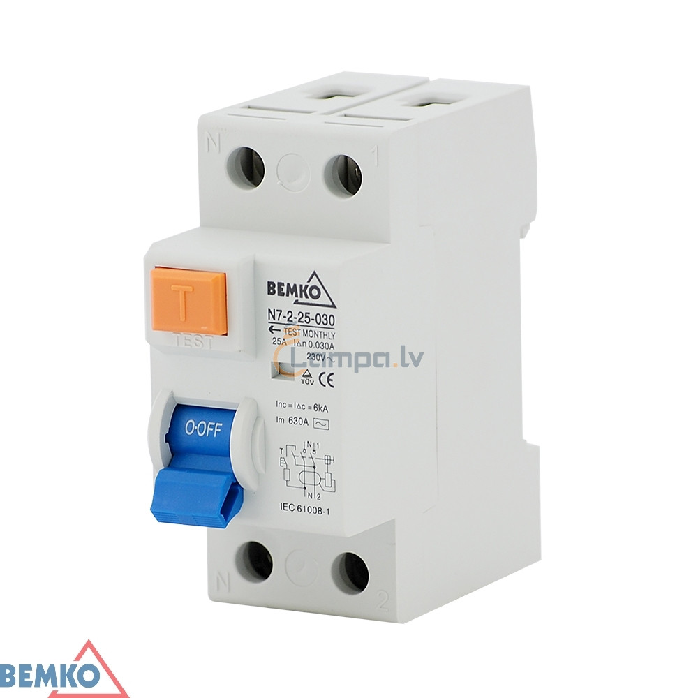 Differential Current Circuit Breaker 1F AC 2P 25A 300MA