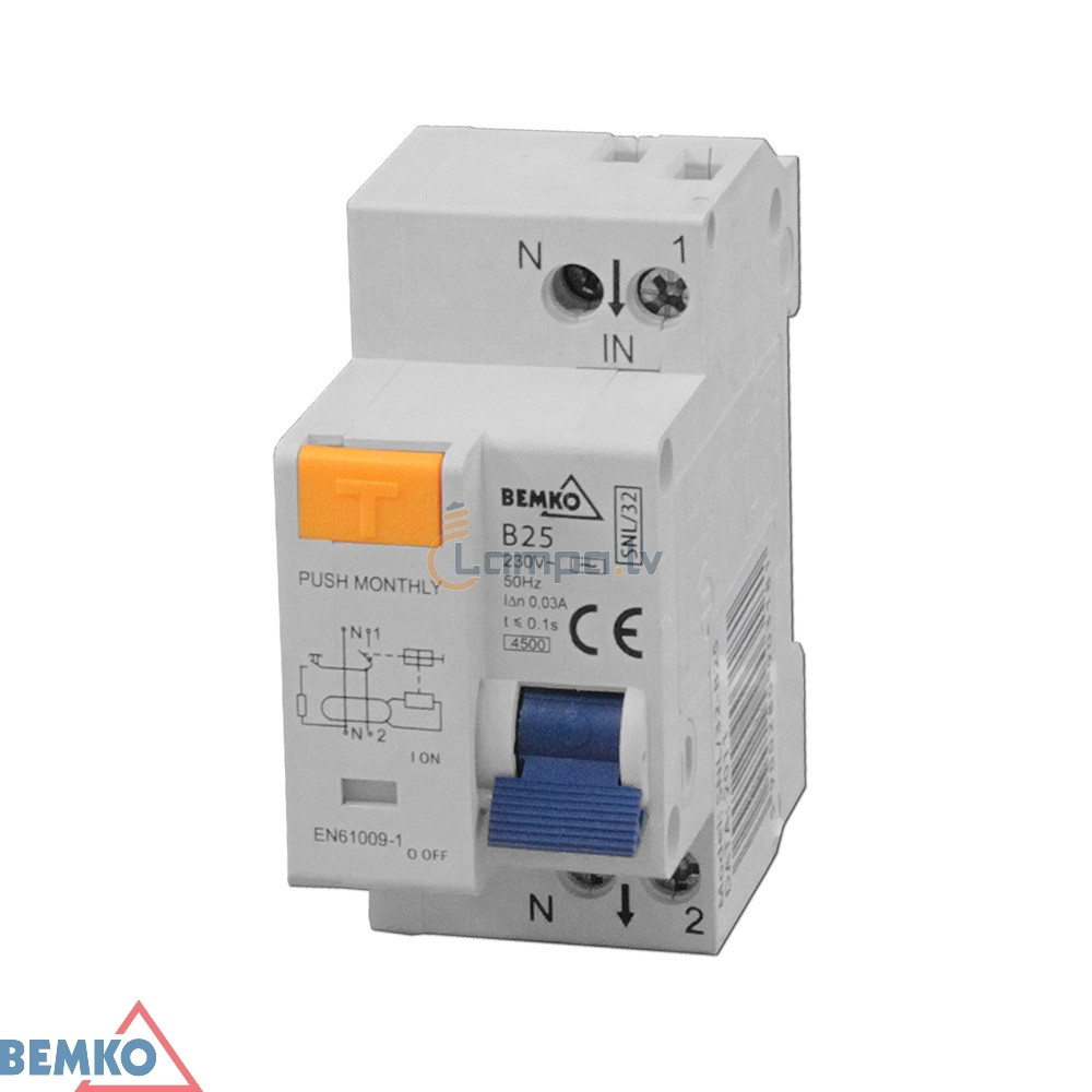 Residual Current Circuit Breaker With Overcurrent Protection Bemko Add A 2p C 16a 30ma