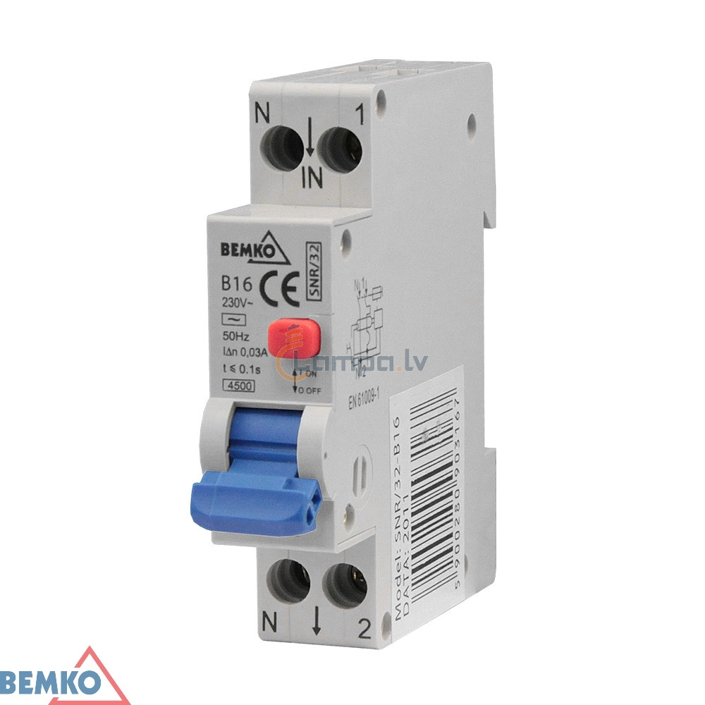 Residual Current Circuit Breaker With Overcurrent Protection Bemko 1p B 20a 30ma