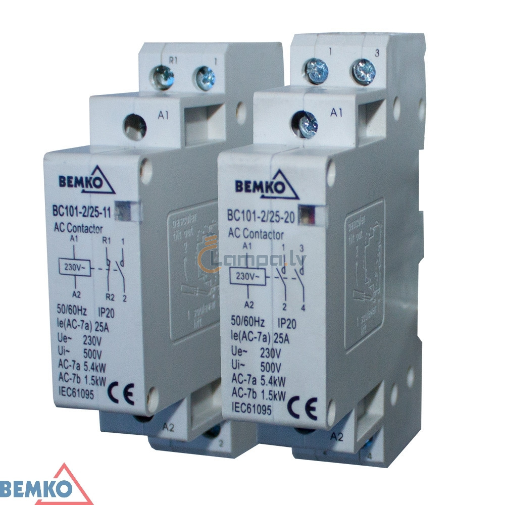 Installation Contactor 1F Bemko BC101 1P 25A TYPE 20 (2Z + 0R)